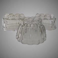 Group of Three Glass Food Jello Molds c 1940's 1950's