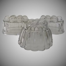 Group of Three Glass Food Jello Molds c 1940's 1950's