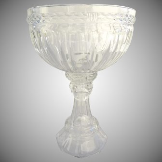 Tall Large Glass Compote Fruit Stand Corinthian Column