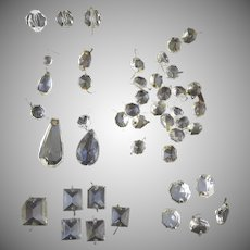 Vintage Clear Cut Crystal Glass Chandelier Prisms Assorted Shapes 40 Pieces