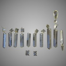Vintage Cut Glass Crystal Chandelier Prisms Star Colonial Square Top Beads 10 Pieces