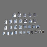 Vintage Clear Cut Crystal Glass Chandelier Square Beads 31 Pieces