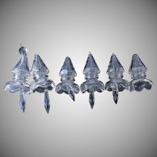Vintage Cut Crystal Glass Chandelier Bell Pendants 6 Pieces