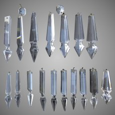 Vintage Clear Cut Crystal Glass Chandelier Spear Prisms 17 Pieces