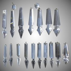 Vintage Clear Cut Crystal Glass Chandelier Spear Prisms 17 Pieces