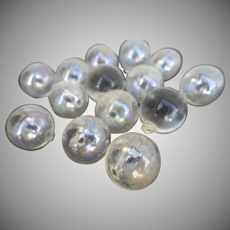 Vintage Plain Clear Glass Chandelier Balls 14 Pieces