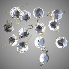 Vintage Clear Crystal Chandelier Beads Octagonal 13 Pieces