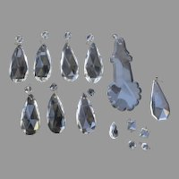Vintage Chandelier Clear Crystal Drops Assorted Sizes 14 PIeces