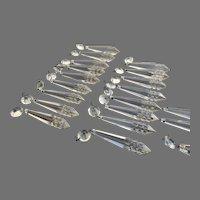 Vintage Chandelier Clear Crystal Drops Prisms 20 Pieces