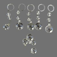 Vintage Clear Crystal Chandelier Plain Bottom Ball Group of 5