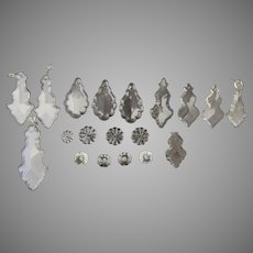 Vintage Chandelier Clear Crystal Prisms Pendalogues Beads 19 Pieces