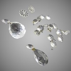 Vintage Chandelier Clear Crystal Prisms Beads 20 Pieces