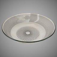 Vintage Mid-Century Modern Svend Jensen Swedish Glass Bowl Black Spirograph Design