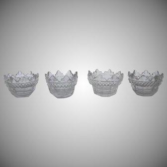 Set of Four English Cut Glass 19th Century Salts
