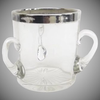 C 1898 Small Glass Sterling Loving Cup by Henry Williamson Birmingham, England