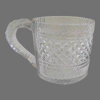 English or Irish Cut Glass 1/2 Half Pint Tankard Mug 19th Century
