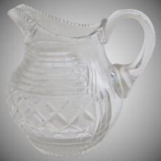 Vintage Older Cut Crystal Milk Cream Pitcher Ground Pontil