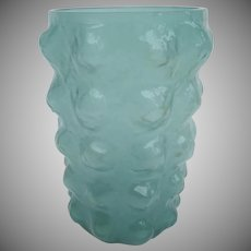 Vintage Turquoise Blue Bubble Glass Vase