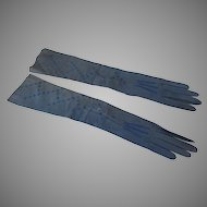 Vintage Long Blue Leather Women's Gloves Embroidered