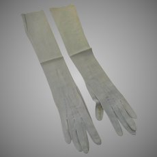 Vintage Powder Blue Leather Women's Gloves Long