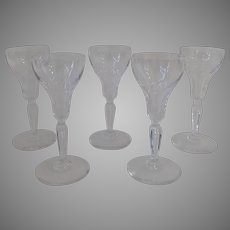 Crystal Port Wine Cordials Sherry Glasses with Air Bubble in Stem