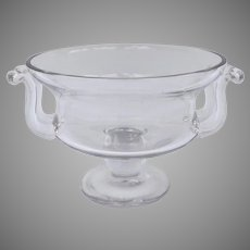 19th  Century Large Impressive Chrystal Footed Bowl Centerpiece Compote with Applied Side Handles