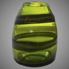 Vintage 1960's Art Glass Vase Green Swirl Pontil