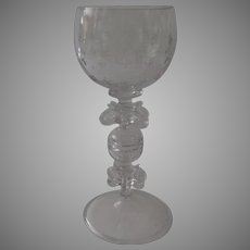 Vintage Large Glass Wine Goblet Etched Blown Made in the 17th Century Style