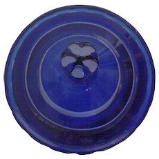 Stunning Cobalt Blue Cut to Clear Jar Urn Lid 19th Century Bohemian