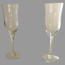 2 x Vintage Orrefors Harmony Fluted Cordial Crystal Glasses 6""