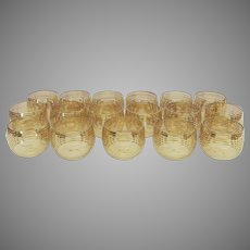Mid Century Roly Poly Bar Rocks Glasses Gold Bands