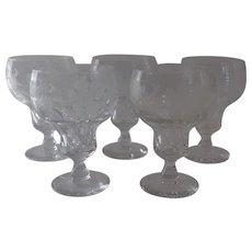 "Vintage Val St. Lambert Vignes Grape Vines Vine Etched Crystal Wine Glasses 5 1/2"""