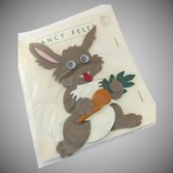 Vintage Fancy Felts Easter Rabbit Bunny with Carrot Googly Eyes