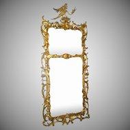 English Carved Gilt Mirror Ho Ho Bird 19th Century