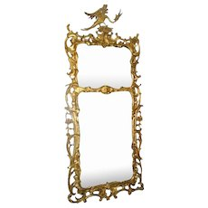 English Carved Gilt Mirror Ho Ho Bird 19th Century