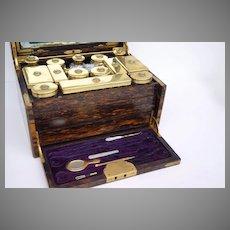 Coromandel Dressing Box Sterling Silver Hallmarked Gilt Vermeil Bottles c 1870 Key in Locket Henry Rodrigues' 42 Piccadilly
