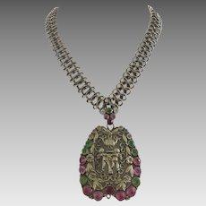Vintage Rhinestone Gold Tone Chain Necklace Putti Angels Statement