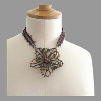 Artisan Choker Necklace Amber Colors Made from Vintage Costume Jewelry