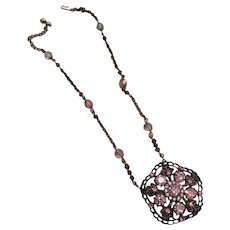 Artisan Choker Necklace Pinks Colors Made from Vintage Costume Jewelry