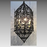 Iron Six Sided Shaped Enclosed Chandelier.