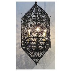 Iron Six Sided Shaped Enclosed Chandelier
