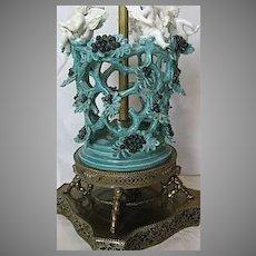 Pierced Basket like Italian Majolica Lamp with Winged Angels