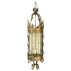 Gothic Revival Large Ceiling Fixture Lantern with Beveled Glass, 1920s