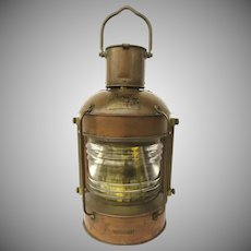 Large Copper Lantern by Masthead Light Ship's Boat