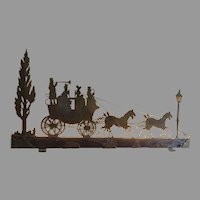 Very Cool Vintage Atmospheric Silhouette Lamp Light Long Narrow Stagecoach and Horses Dog