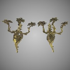 Pair of Nice Quality  Ormolu Rococo Three Arm Wall Sconces 19th Century