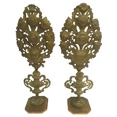 Large 18th century Italian Gilt Brass Palmettos with Sunflower, Tulips, Acanthus Leaf  and Urn Motif