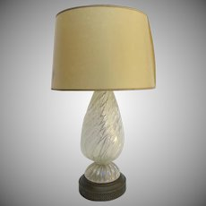 Vintage Italian Italy Murano Glass Lamp Silver Flecks