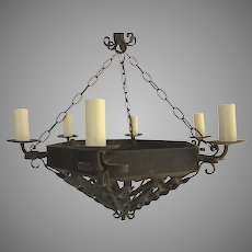 Wrought Iron Chandelier Six Lights