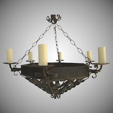 Wrought Iron Chandelier Six Lights